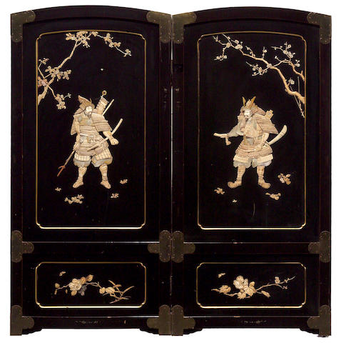 A Japanese black lacquer, ivory and mother of pearl inlaid two panel floor screen late 19th/early 20th century