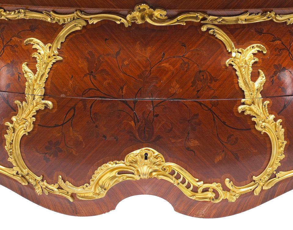 A very fine and impressive Louis XV style gilt bronze mounted marquetry commode Paul Sormani fourth quarter 19th century