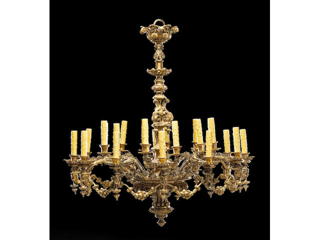 A fine Napoleon III gilt bronze twenty four light chandelier third quarter 19th century