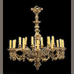 A Napoleon III gilt bronze twenty four light chandelier