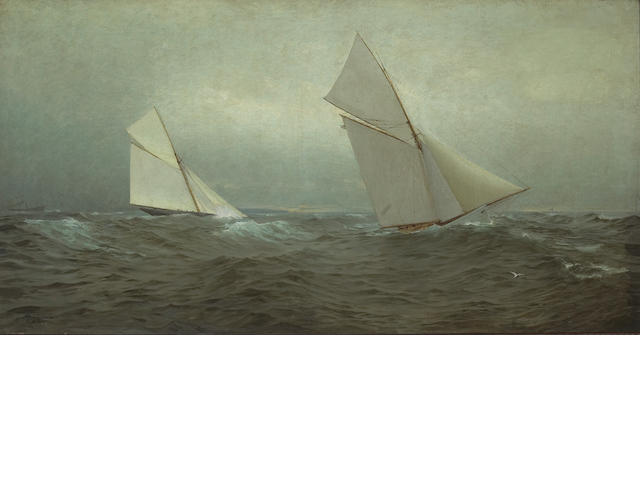 William Trost Richards (American, 1833-1905), and Theodore William Richards   20 Miles to Windward (1885 America's Cup Race) 23 x 44in