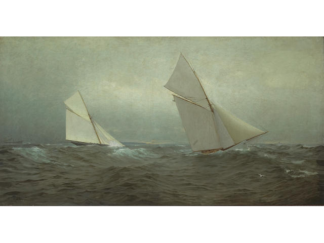 (n/a) William Trost Richards (American, 1833-1905), and Theodore William Richards 20 Miles to Windward (1885 America's Cup Race) 23 x 44 in. (58.4 x 111.76 cm.)