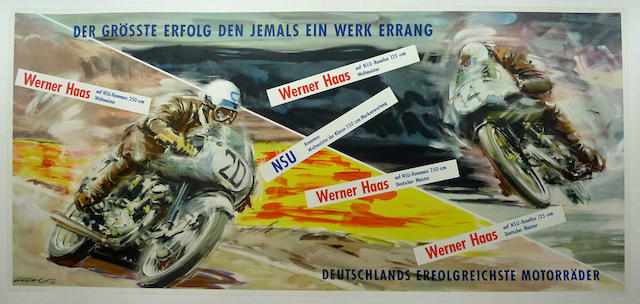 A rare NSU Grossle Erfogle poster, 1953,