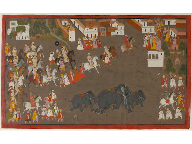 An Indian miniature of Maharana Sangram Singh Escorting Three Elephants through a Village Udaipur, 18th Century