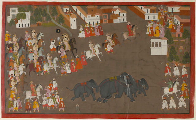 An Indian miniature of Maharana Sangram Singh Escorting Three Elephants through a Village Udaipur, 18th Century