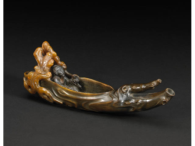 A rhinoceros horn raft cup 18th/19th Century