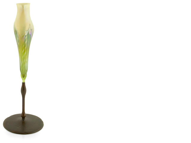 A Tiffany Studios Favrile glass and bronze floriform vase 1899-1918
