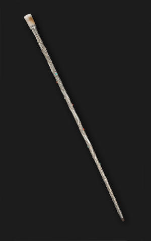 A silver walking stick with hardstone inlay Late Qing/Republic Period