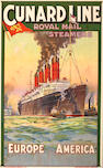 Charles Eddowes Turner (British, 1883-1965); Cunard Line - Royal mail Steamers - Europe America;