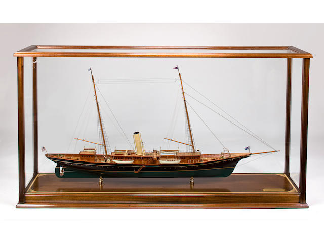 "A large model of the steam yacht ""CORSAIR"" (II)  76.1/2 x 18.1/2 x 70.1/2 in. (194.3 x 47 x 179.1 cm.) model on stand. 2"