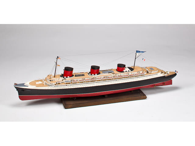 "A model of the S.S. ""Normandie""  48 x 7 x 14.1/2 in. (121.9 x 17.8 x 36.8 cm.)"