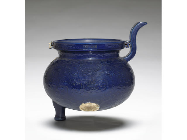 A massive blue glazed porcelain tripod censer Qianlong Mark and Period