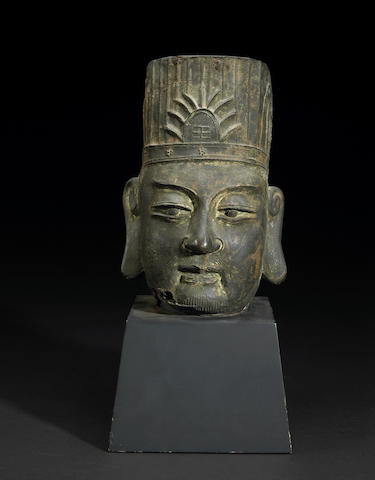 A cast iron head of a Daoist deity or deified offical Ming Dynasty