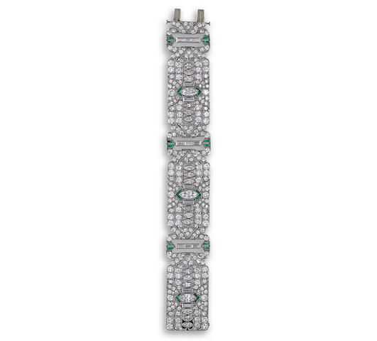 A late art deco diamond and emerald bracelet,