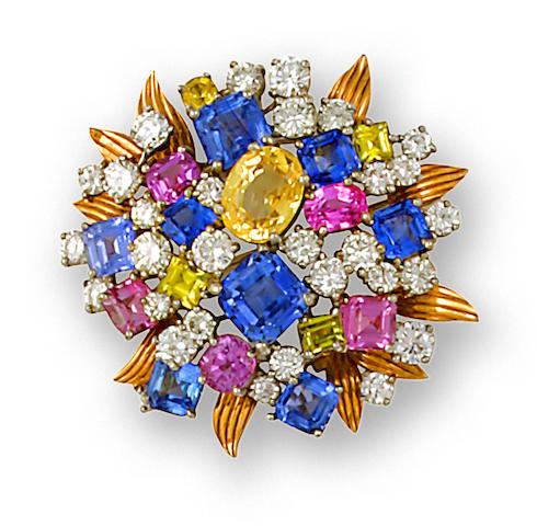 A diamond and multi-colored sapphire brooch, Tiffany & Co,