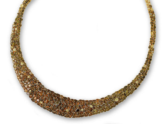 A colored diamond necklace