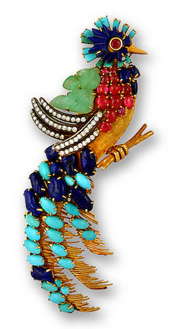 A diamond and gem-set bird brooch