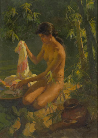 Fernando Cueto Amorsolo (The Philippines 1892-1972) Nude by a River