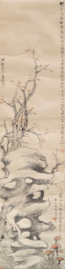Jiang Que (1838-1879), Hu Zhang (1848-1899) and Hu Yuan (1823-1886) Rock, tree and fungus