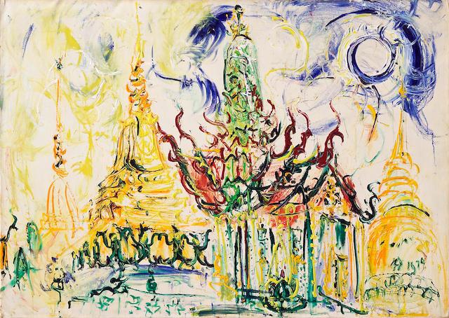 """Affandi """"Pagoda"""" oil on canvas"""