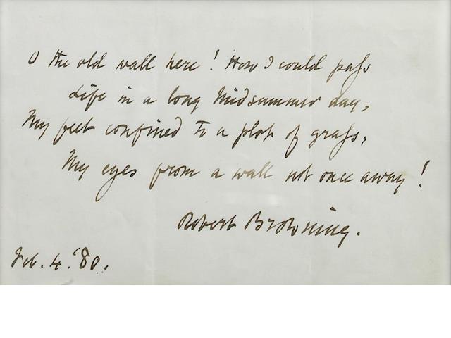 BROWNING, ROBERT. 1812–1889.