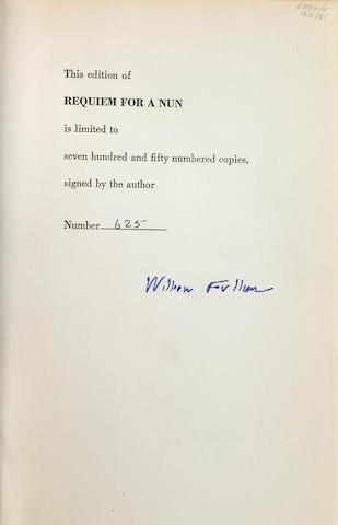 FAULKNER, WILLIAM. 1897-1962. Requiem for a Nun. New York: Random House, [1951.]