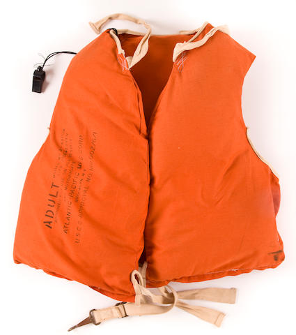 """A life jacket from the S.S. """"United States""""  American (20th century) 24 x 24 in. (61 x 61 cm.) 2"""