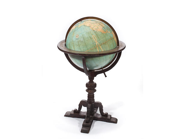 An 18-inch terrestrial index floor globe  circa 1914  1 in. (104.1 cm.) height.