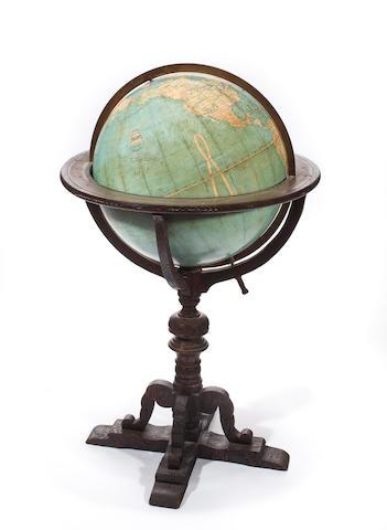 An 18-inch terrestrial index floor globe  circa 1914  1 in. (104.1 cm.) height.