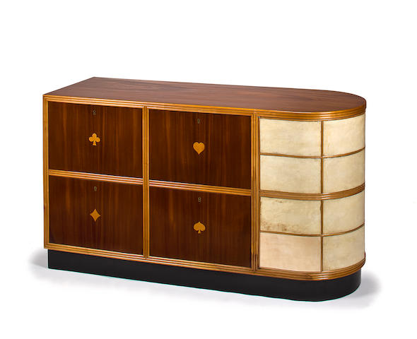 An Italian inlaid mahogany and parchment bar cabinet attributed to Osvaldo Borsani,  1950s