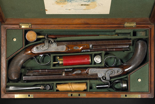 A fine cased pair of English percussion duelling pistols by James Purdey