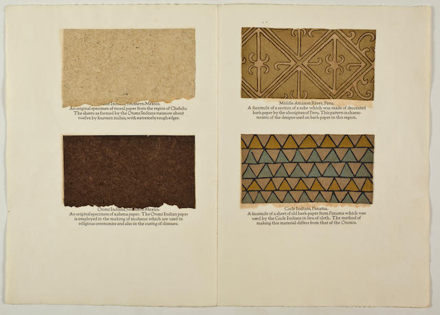 HUNTER, DARD. Primitive Papermaking: An Account of a Mexican Sojourn and of a Voyage to the Pacific Islands in Search of Information, Implements, and Specimens relating to the Making & Decorating of Bark-Paper. Chillicothe, Ohio: Mountain House Press, 1927.
