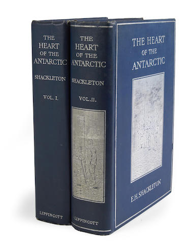 SHACKLETON, ERNEST HENRY. 1874-1922. The Heart of the Antarctic: Being the Story of the British Antarctic Expedition 1907-1909. Philadelphia: J.B. Lippincott, 1909.