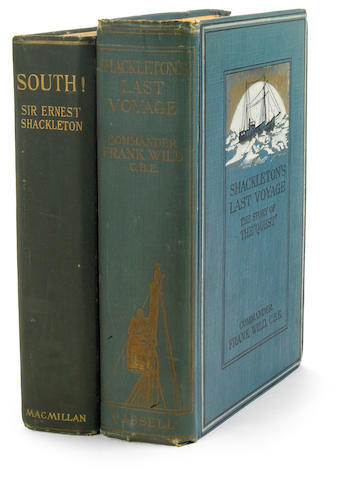 SHACKLETON, ERNEST HENRY. Two works:  1. South: the Story of Shackleton's Last Expedition. New York: Macmillan, 1920. Folding map. 2 leaves toned.