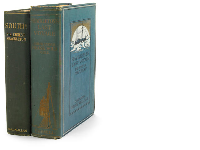 SHACKLETON, ERNEST HENRY.  Two works:<br> 1. South: the Story of Shackleton's Last Expedition. New York: Macmillan, 1920. Folding map. 2 leaves toned.