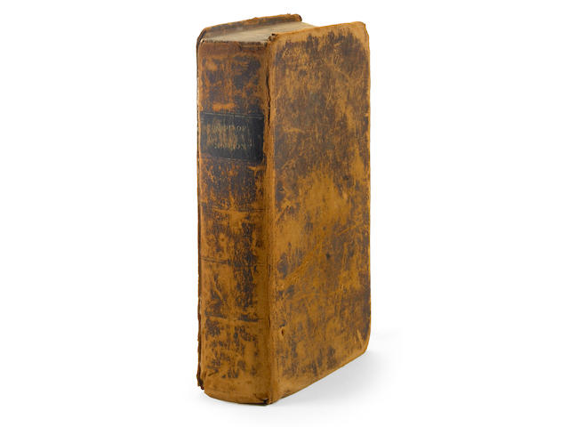 SMITH, JOSEPH, JR. 1805-1844. EARLY CONVERT SERENUS BURNET'S COPY.  The Book of Mormon: an Account Written by the Hand of Mormon, Upon Plates Taken from the Plates of Nephi. Palymra: E.B. Grandin, for the Author, 1830.