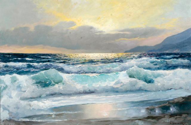Alexander Dzigurski (Yugoslavian/American, 1911-1995) Coastal Majesty 24 x 36in