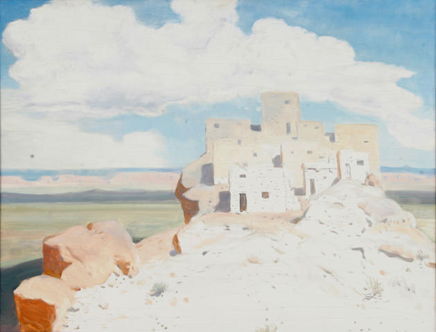 Attributed to James Swinnerton (American, 1875-1974) First Mesa, Arizona 20 x 25 1/2in