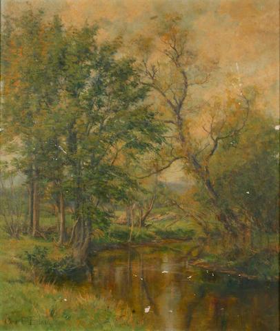 Olive Parker Black (American, 1868-1948) Summer River Landscape 20 x 24in