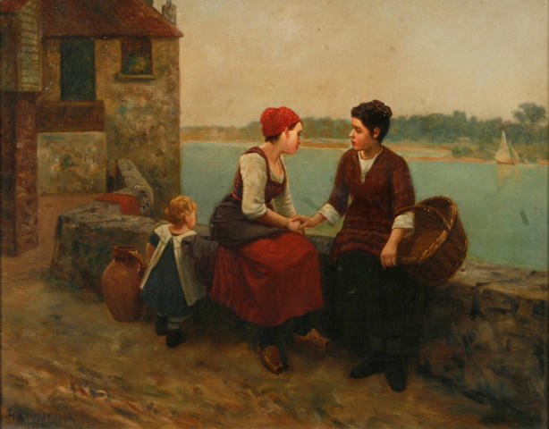 H. Charentier A conversation by the river 16 1/8 x 20 1/8in