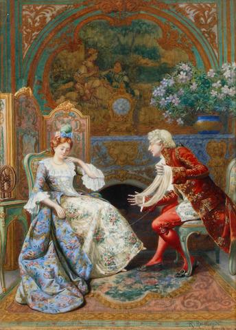 Roberto Raimondi (Italian, 1877-1961) An interior scene with figures
