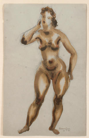 Chaim Gross (American, 1904-1991) Nude watercolor