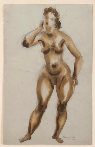 Chaim Gross (American, 1904-1991) Nude watercolor
