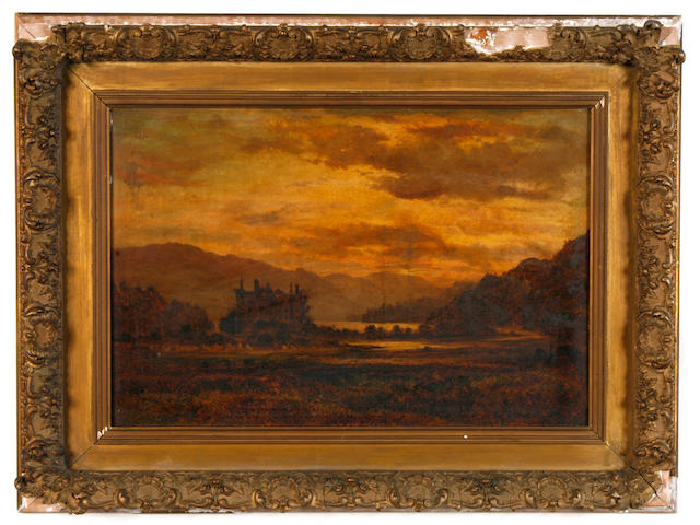 Attributed to Samuel Bough, RSA (British, 1822-1878) A landscape at sunset with a castle in the distance 15 1/4 x 22 1/2in