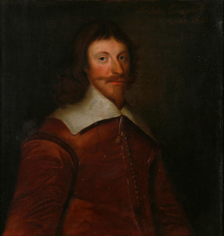 Attributed to George Jamesone (Aberdeen circa 1589-1644) A portrait of Sir John Campbell, half-length 25 3/4 x 25in