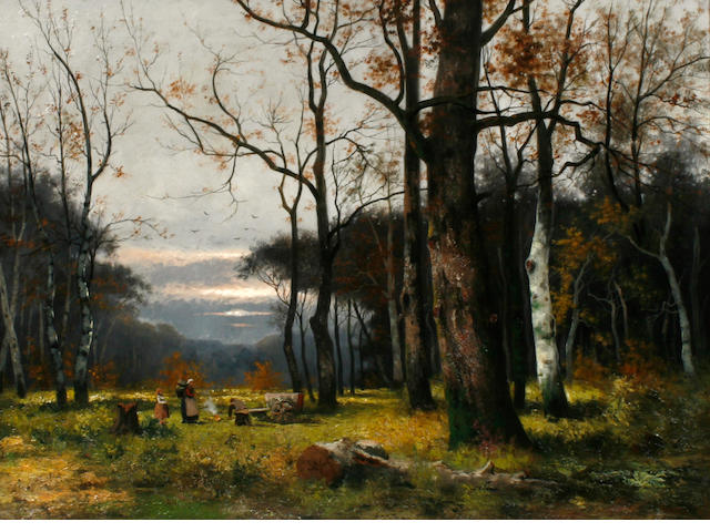 W.B. Thalen A wooded landscape with figures in a clearing 29 x 39 3/8in