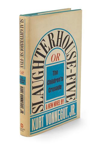VONNEGUT, KURT, JR. 1922-2007. Slaughterhouse-Five, or the Children's Crusade. [New York]: Delacorte Press, [1969].