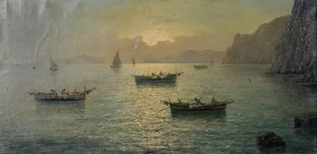 Vincenzo D'Auria (Italian, 1872-1939) Boats on the Mediterranean sea 23 1/2 x 47in