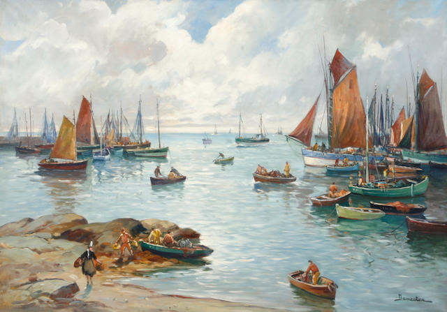 (n/a) Eugène Demester (French, 20th century) Sailboats in a harbor 30 x 42in
