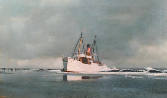 (n/a) Antonio Nicolo Gasparo  Jacobsen (American, 1850-1921) The Gwent aground at Long Beach 18 x 30 in. (45.7 x 76.2 cm.)